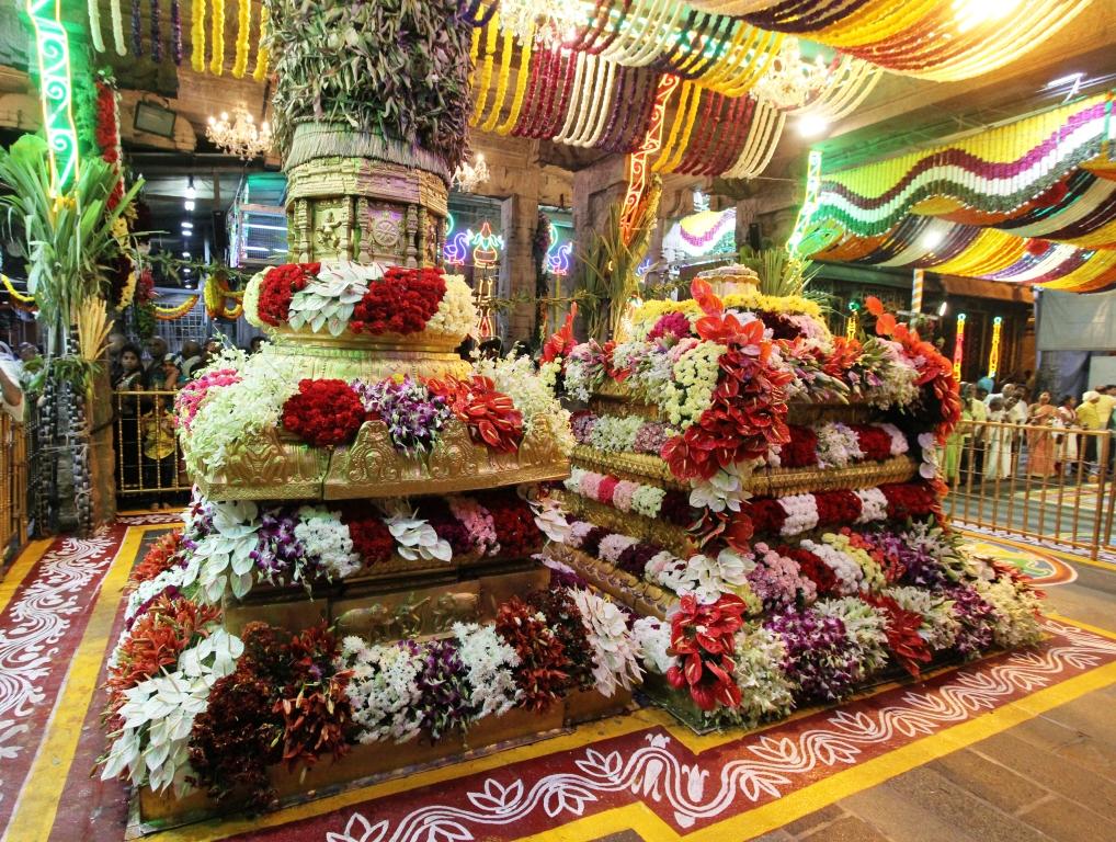 Dhwajasthambam decorated