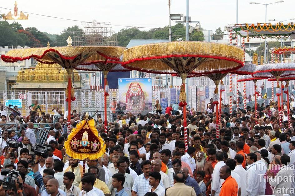Umbrellas procession - Brahmotsavams